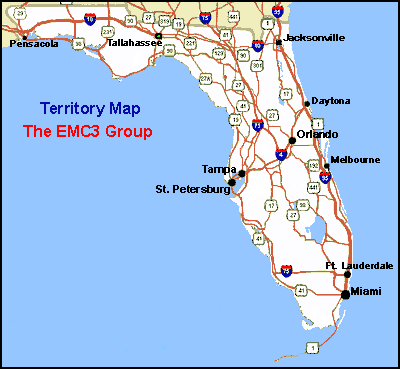 Florida, Puerto Rico and Dominican Republic Service Area Map for The EMC3 Group.